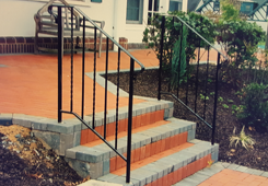 Front Steps with Black Iron Railings